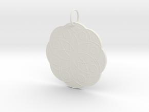 Rose Window Pendant in White Natural Versatile Plastic