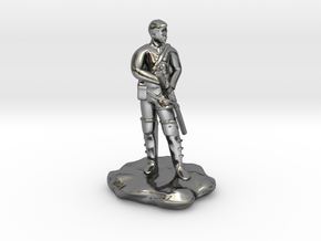 Human  Ranger with Katana in Fine Detail Polished Silver