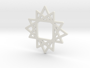 16 Point Star in White Natural Versatile Plastic