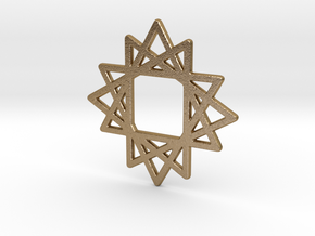 16 Point Star in Polished Gold Steel