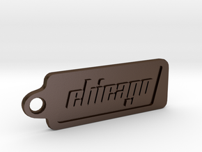Chicago, Illinois Keychain in Polished Bronze Steel