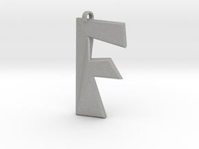 Distorted letter F in Aluminum