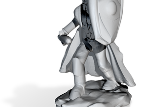 Human Paladin in Plate with Sword and Shield in White Strong & Flexible