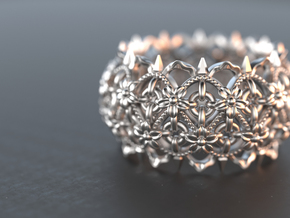 Thorns and  Flowers Ring  in Polished Silver