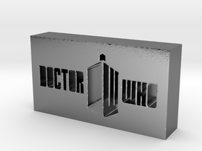 Doctor Who Logo in Polished Silver