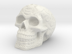 Celtic Skull (Hollow) in White Strong & Flexible