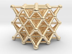 64 Tetrahedron Grid - Isotropic Vector Matrix in 14K Yellow Gold