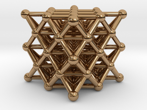 64 Tetrahedron Grid - Isotropic Vector Matrix in Polished Brass