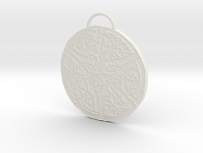 Celtic Knot Pendant 5 in White Natural Versatile Plastic: Small