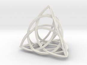 Celtic Knot Tetrahedron in White Natural Versatile Plastic