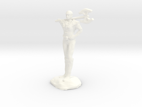 Female Barbarian Human With Great Axe and Braid in White Processed Versatile Plastic