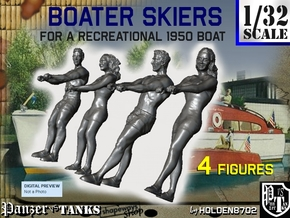 1-32 Recreation Boat Skiers Set 3 in Smooth Fine Detail Plastic