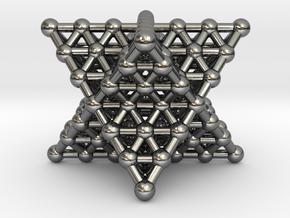 Merkaba Matrix 3 - Surface - Star tetrahedron grid in Polished Silver