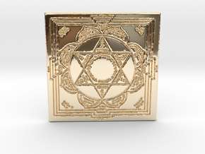Lakshmi Ganesha Yantra in 14k Gold Plated Brass