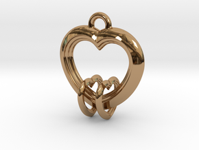 2 Hearts Linked in Love in Polished Brass (Interlocking Parts)