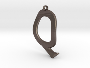 Distorted letter Q in Polished Bronzed Silver Steel