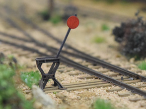 Harp Switch Stand - Flat top with 4 legs, O Scale in Smoothest Fine Detail Plastic