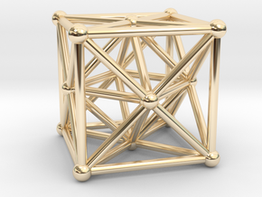 Metatron's Cube - Merkaba Cube in 14K Yellow Gold