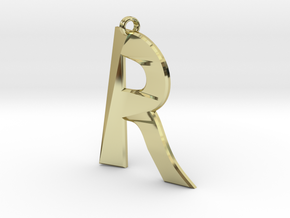 Distorted letter R in 18k Gold Plated