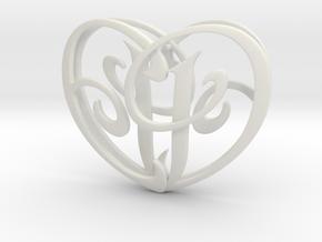 Scripted Initials 3d Heart - 4cm in White Natural Versatile Plastic