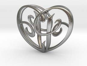 Scripted Initials 3d Heart - 4cm in Natural Silver