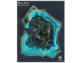 Bora Bora Map, French Polynesia in Glossy Full Color Sandstone