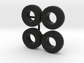 1/64 Wheel loader tires in Black Natural Versatile Plastic