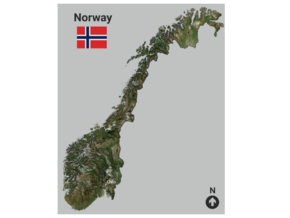 Norway Map in Matte Full Color Sandstone