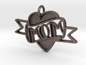 MOM Pendant in Polished Bronzed Silver Steel