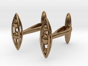 Algae Cufflinks (Nitzschia) in Natural Brass