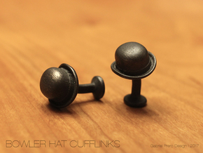 Bowler Hat Cufflinks in Polished and Bronzed Black Steel