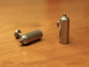 Spray Paint Can Cufflinks in Polished Bronzed Silver Steel