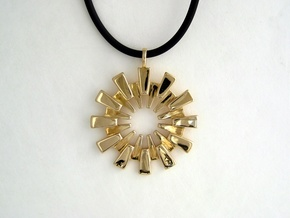 Pendant - 3D Printed Sun in Fine Metals in Polished Brass