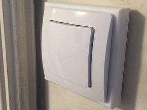 UK Lightswitch cover panel in White Strong & Flexible Polished