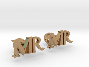 MR personalised cufflinks in Polished Brass