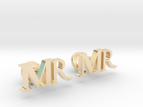 MR personalised cufflinks in 14K Yellow Gold
