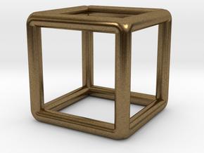 Building Cube Pendant in Natural Bronze