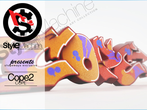COPE graffiti sculpture in Natural Full Color Sandstone: Small