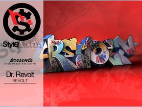 REVOLT graffiti sculpture in Full Color Sandstone: Medium