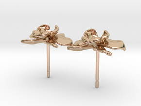 Petite Orchid Earrings in 14k Rose Gold Plated Brass