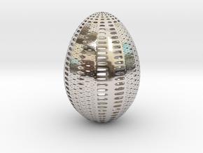 Designer Egg 1 in Rhodium Plated Brass