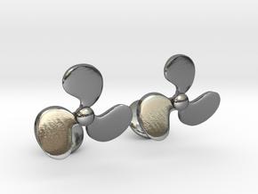 Turbine Fan Cufflinks in Polished Silver