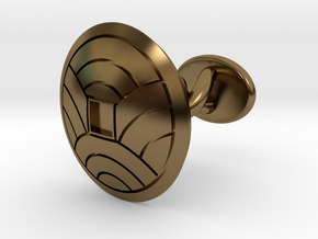 "Japanese Kamon cufflink ""裏浪銭紋"" in Polished Bronze: Small"