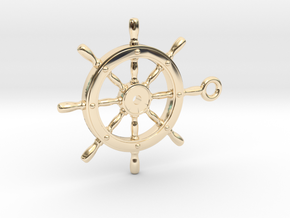 ship wheel Pendant 2 in 14k Gold Plated Brass