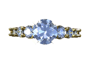 CCW33  7 Stone Diamond Ring in Smooth Fine Detail Plastic
