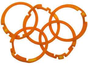 Olympic Puzzle Ring in Orange Processed Versatile Plastic