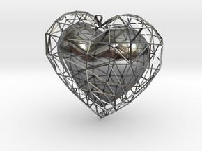Heart in jail in Interlocking Polished Silver