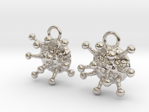 Cannabis Trichome Earrings - Nature Jewelry in Rhodium Plated Brass