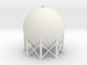 N Scale Spherical Tank 137m3 in White Natural Versatile Plastic