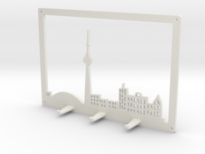 Toronto Skyline - Key Chain Holder With Border in White Natural Versatile Plastic